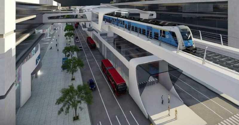 El metro elevado corriendo para no ser alcanzado por el subterráneo